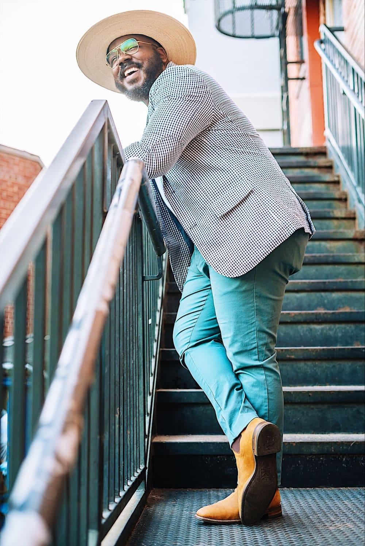 Kelvin Davis male curve model photoshoot for Happiful Magazine Bridge Models London