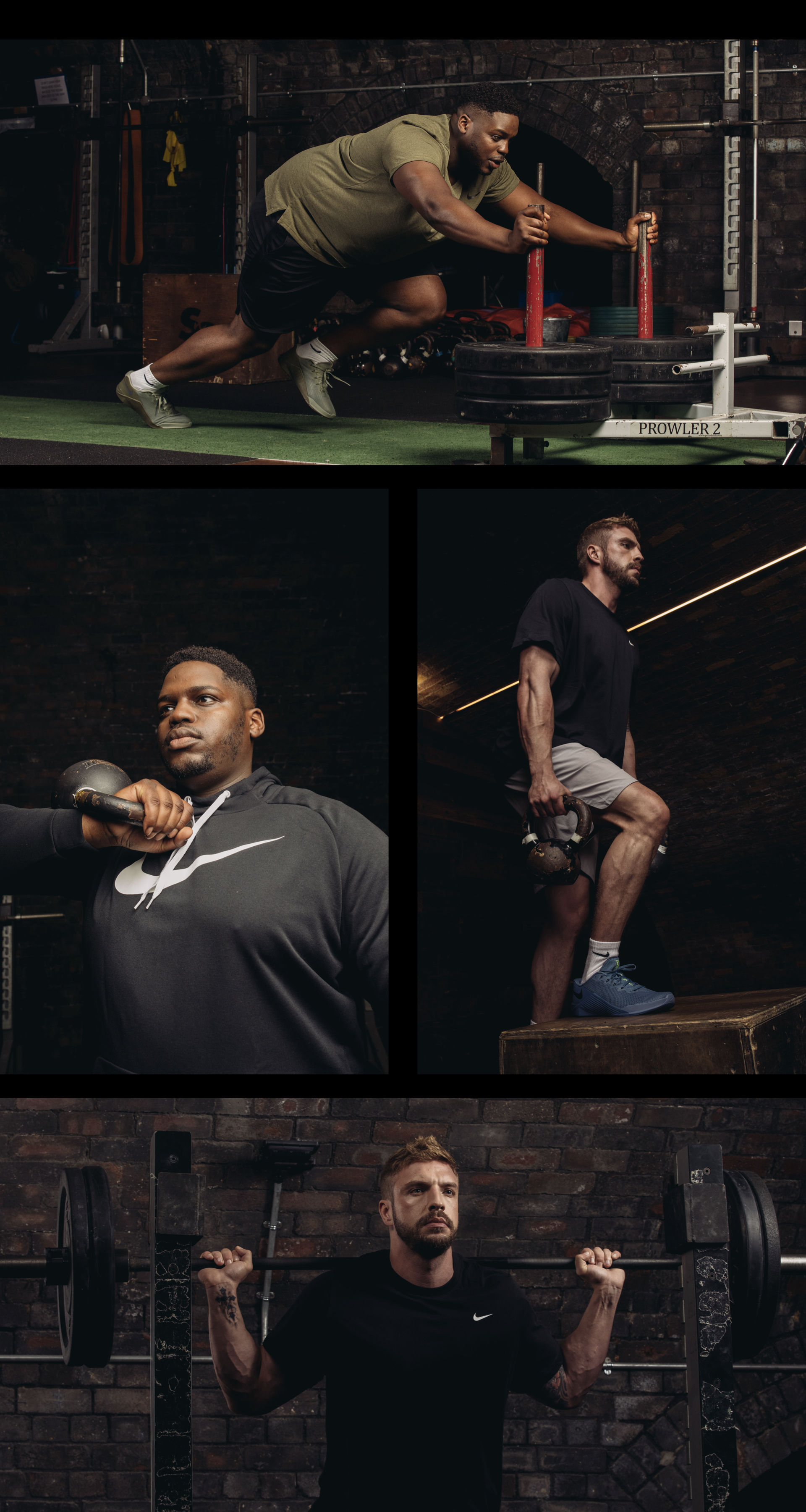 Raul Samuel male curve model and Kirk Broomfield male curve model photoshoot for Nike Style Guide 2019 Bridge Models London