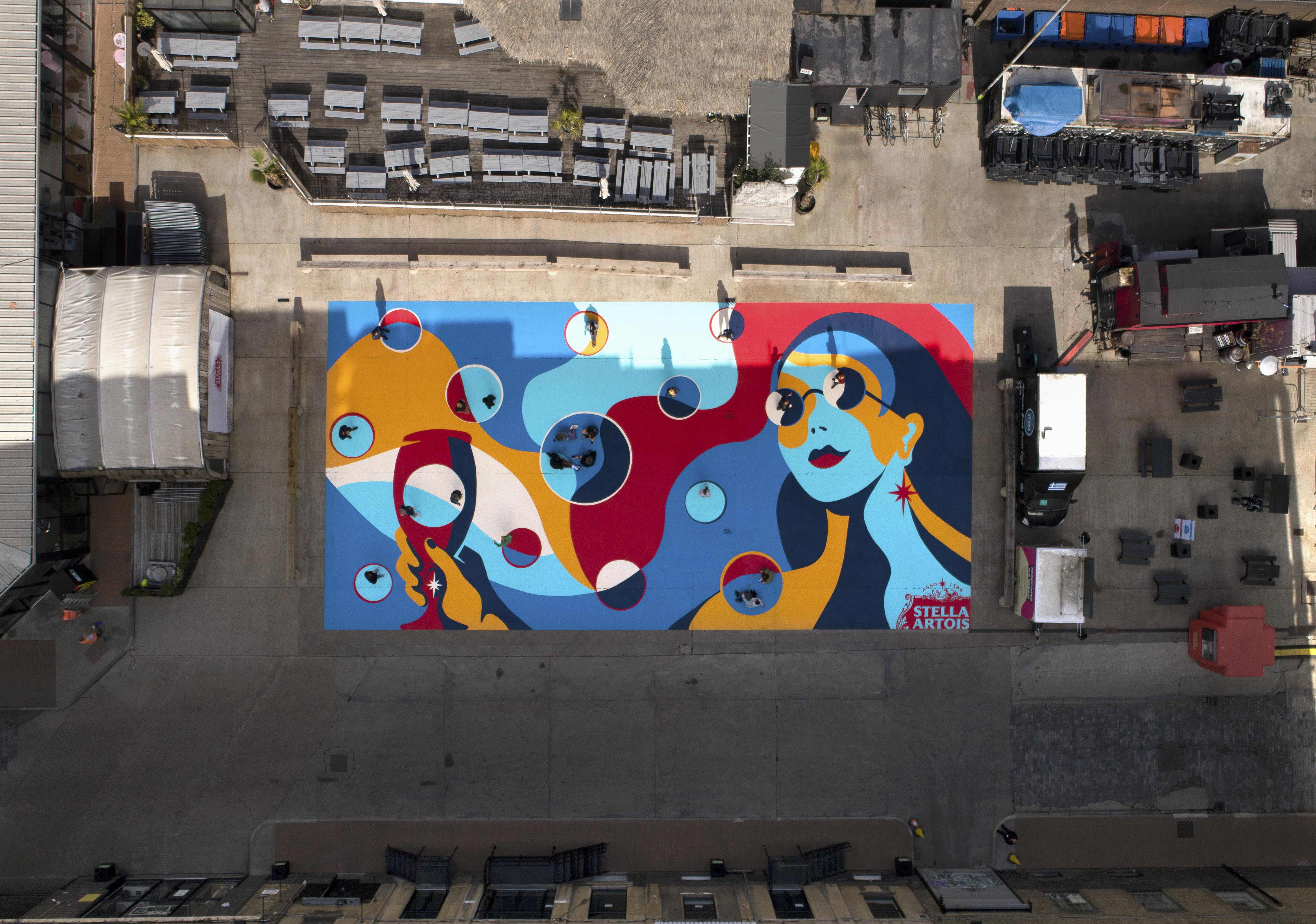 Studio Number One Partners with Stella Artois to Create Social Distancing Mural at Truman Brewery